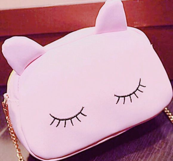Eyelash kitty shoulder bag or makeup bag