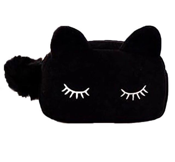 Eyelash makeup bag with pom pom