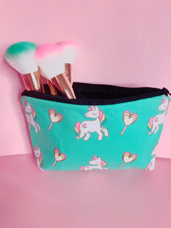 Green unicorn makeup bag
