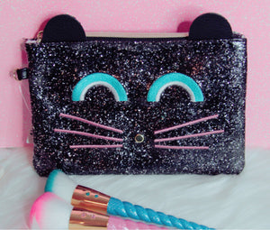 Kitty makeup bag with sparkles