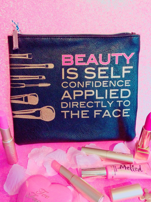 Beauty is self confidence black makeup bag