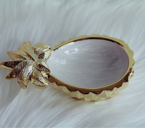 Pineapple trinket tray gold/marble white