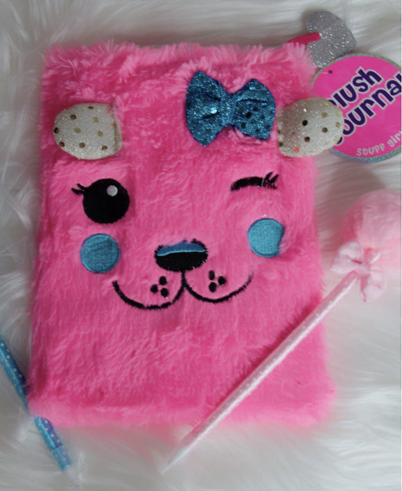 Pink fuzzy teddy with a wink notebook