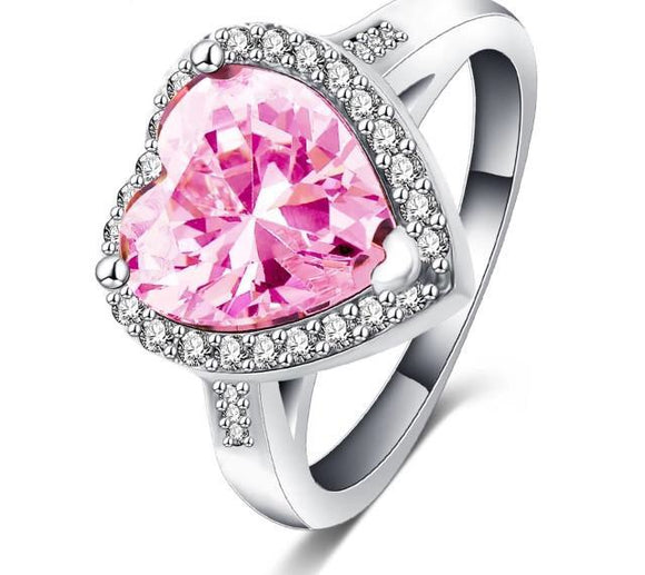 Pink heart stone ring
