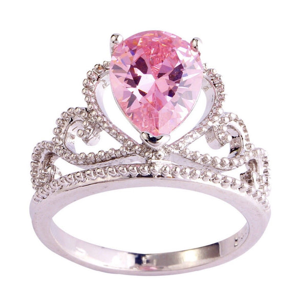 Pink princess crown ring