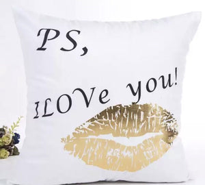 PS, I love you pillow case with gold lips