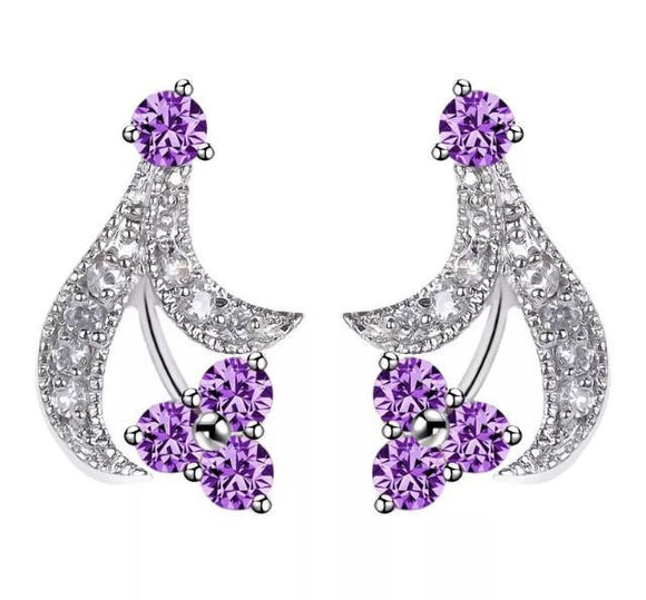 Purple classy with crystals earrings