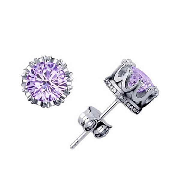Purple stud crown earrings
