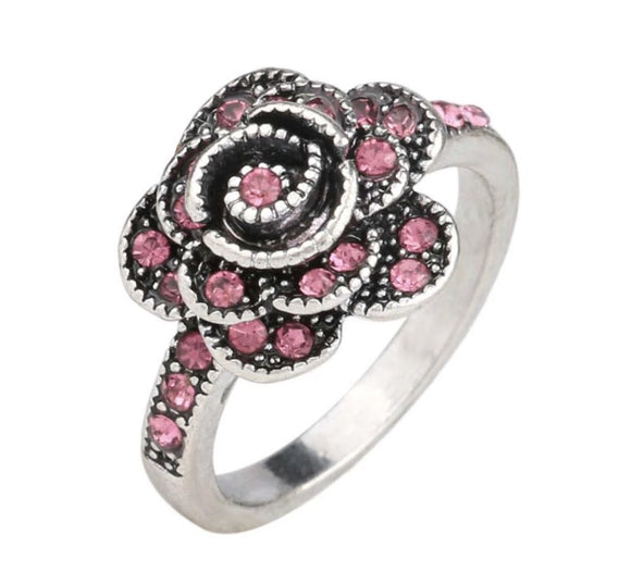 Rose pink crystals ring