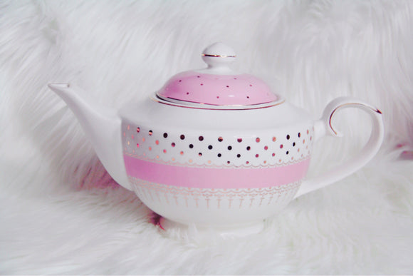 Tea pot in white and pink