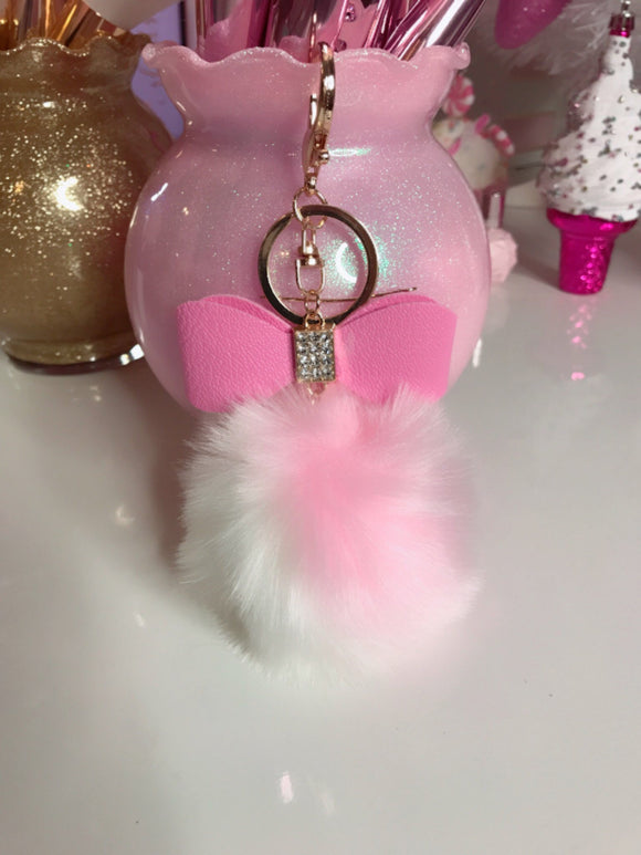 Two color bow pom pom bag charm