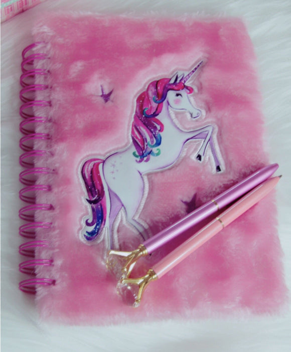 Unicorn fuzzy pink notebook