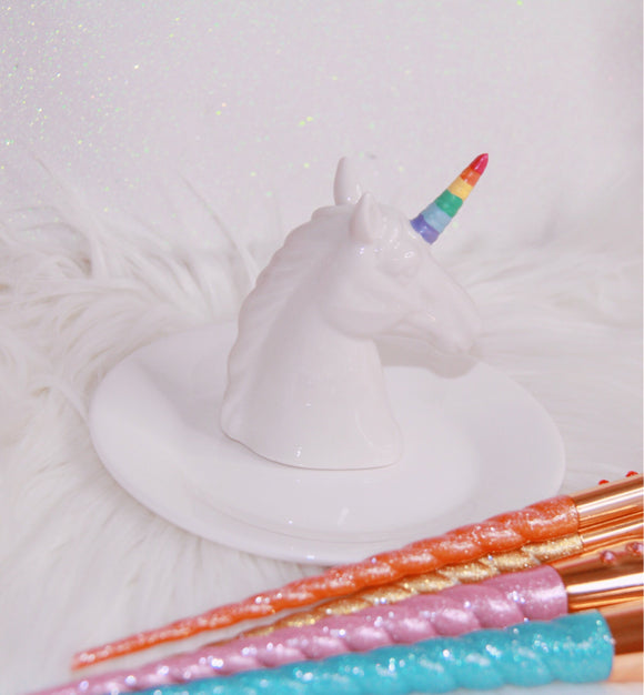 Unicorn trinket dish with rainbow horn