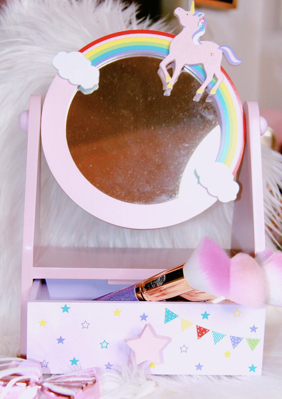 Unicorn Vanity mirror decor with a small drawer