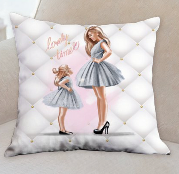 Mommy and Me Gray dress pillow