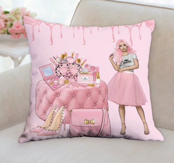 Pink Beauty Girl Pillow