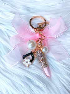 Pink bow sparkle bag charm