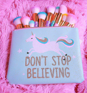 Unicorn teal makeup bag