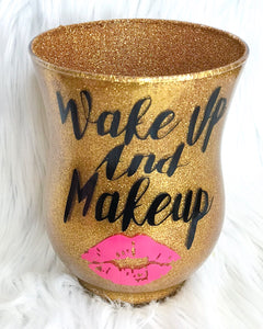 Wake up and makeup in gold glitter brush holder