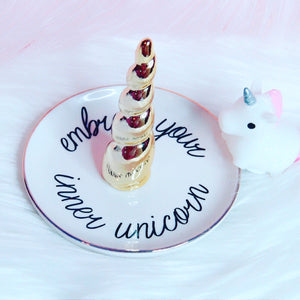 """embrace your inner unicorn"" trinket tray"