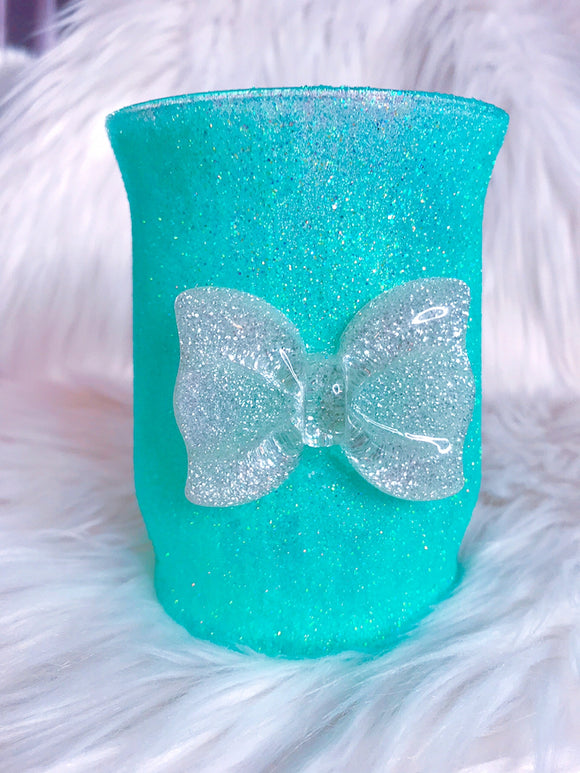 Teal Glitter brush holder with a bow