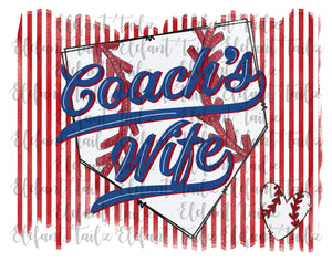 Baseball Coach's Wife Striped Background