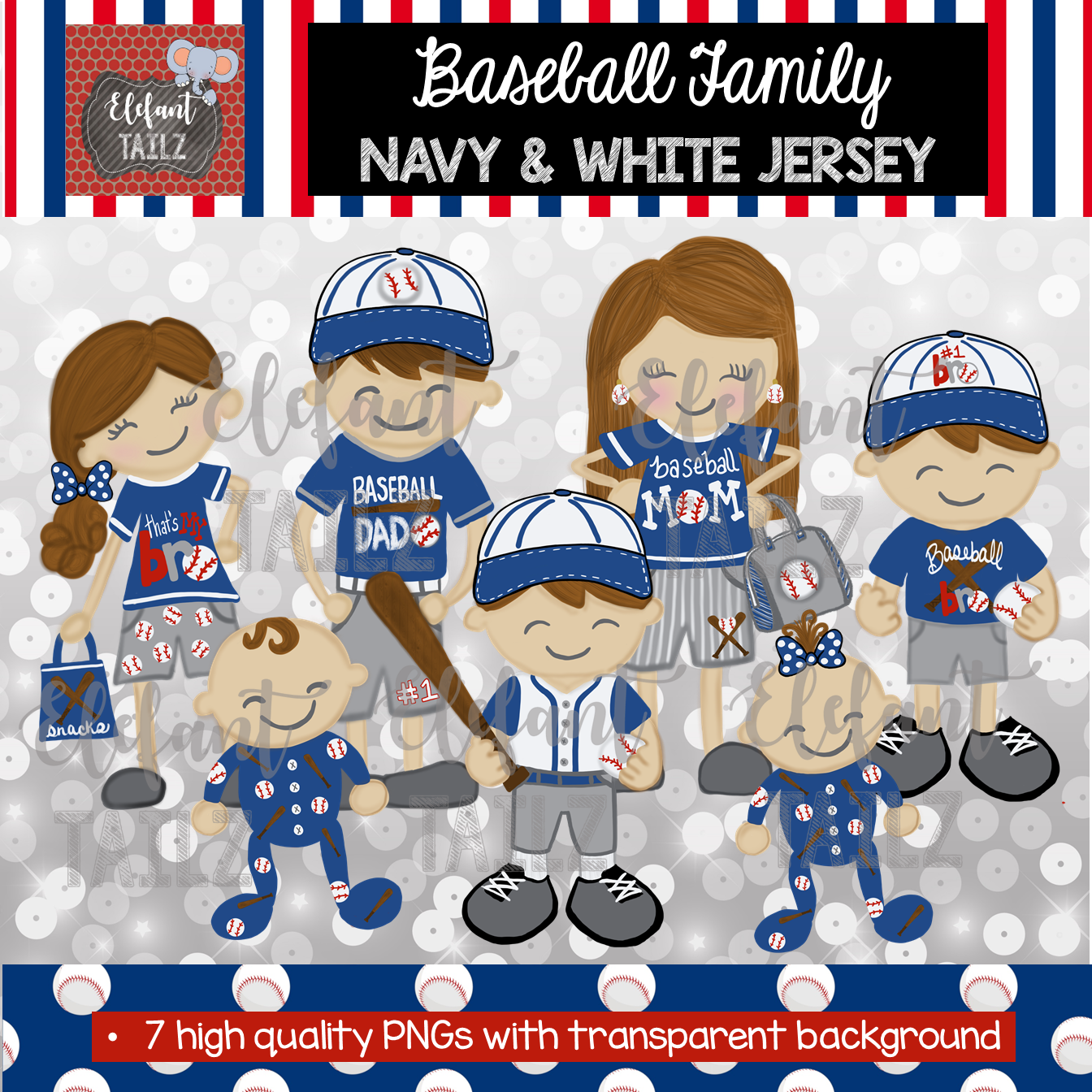 Baseball Family - Brown Hair - Navy & White Jersey
