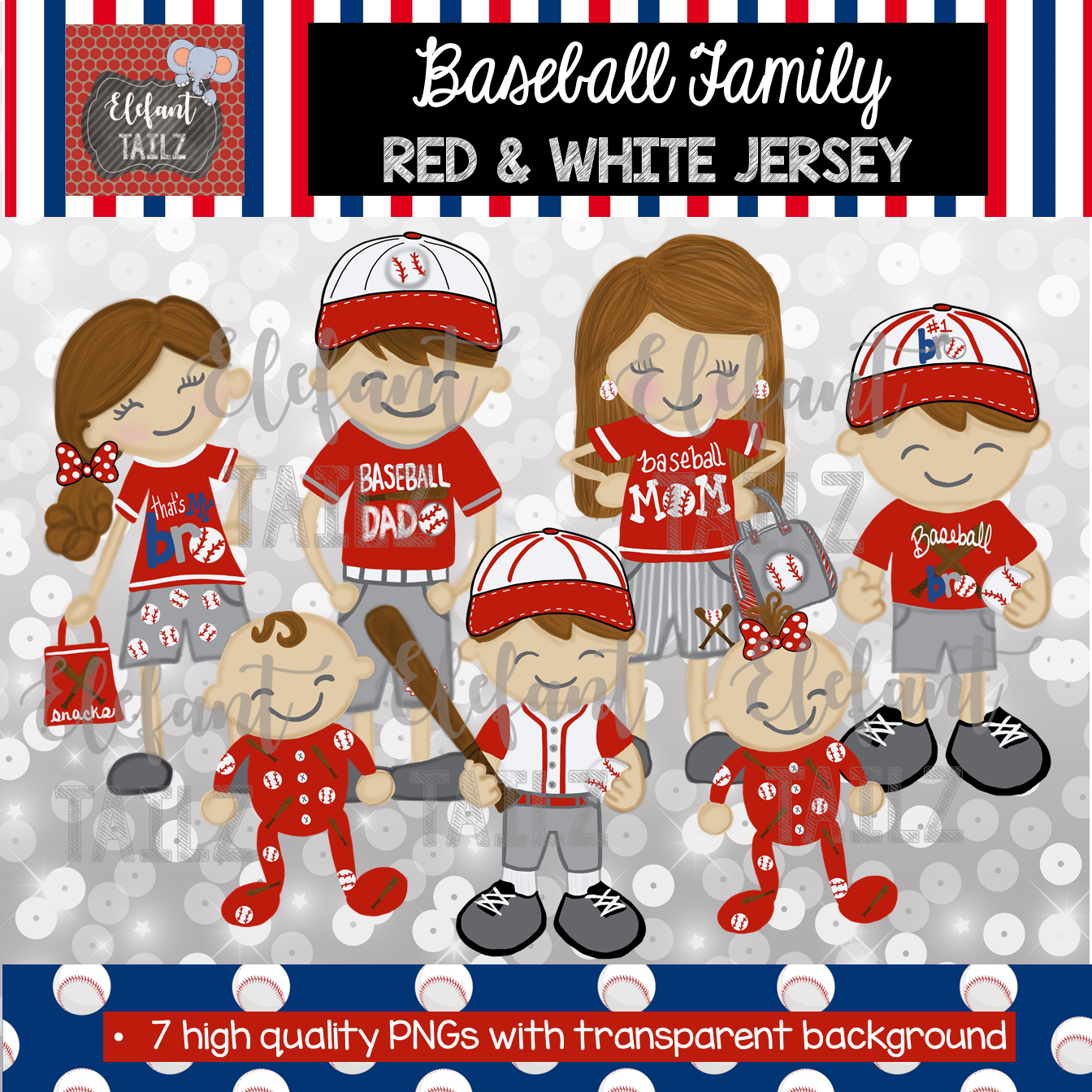 Baseball Family - Brown Hair - Red & White Jersey