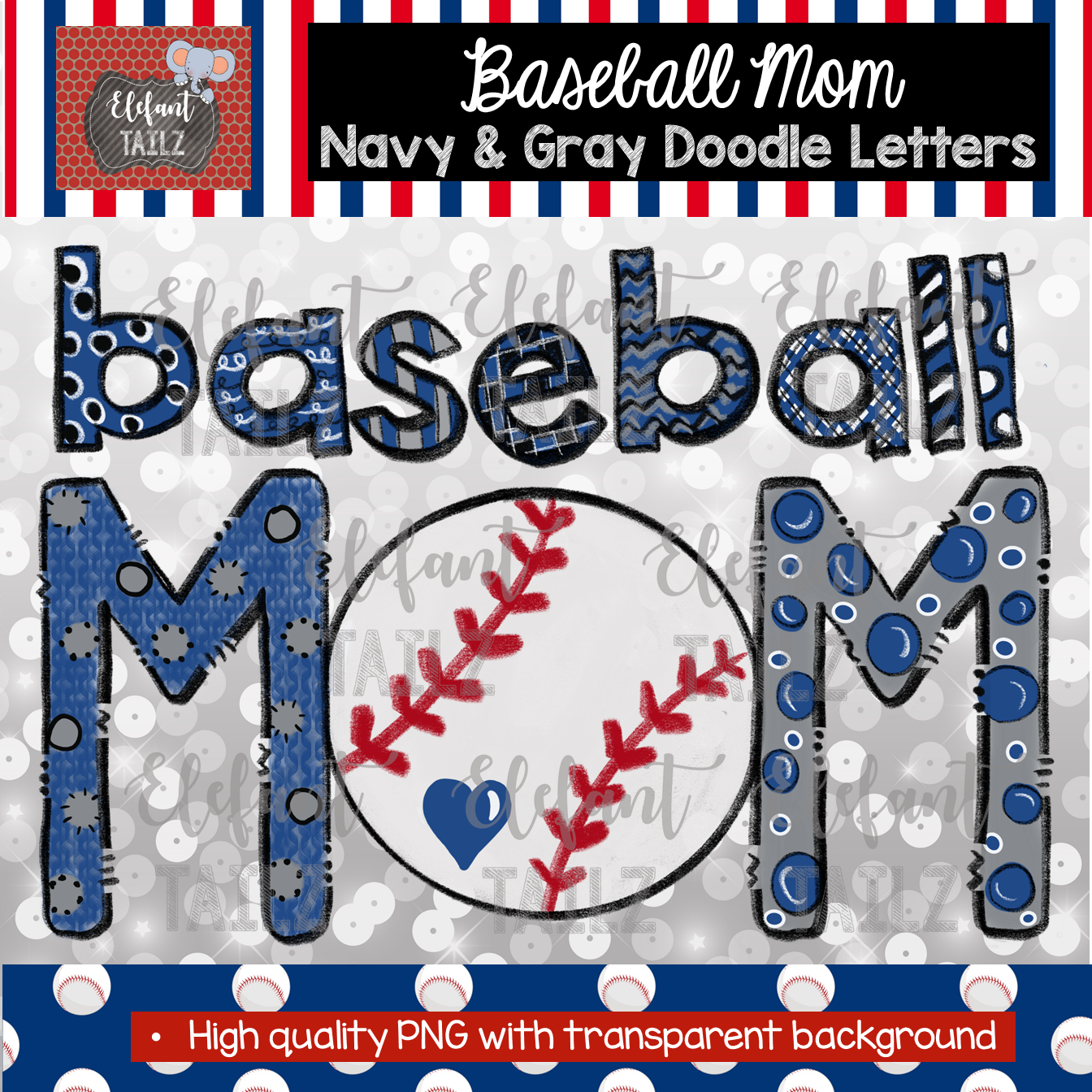 Baseball Mom Doodle Letters - Navy & Gray