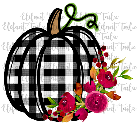 Black White Buffalo Plaid Pumpkin