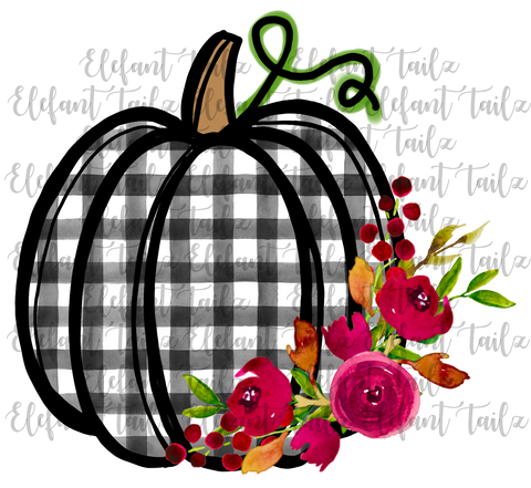 Black White Watercolor Gingham Pumpkin