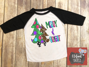 Merry & Bright Christmas Trees - Kid's Black Raglan
