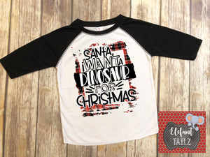 Dinosaur For Christmas - Kid's Black Raglan