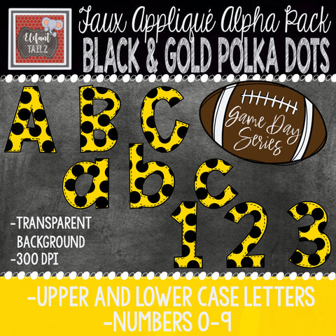 Game Day Series Alpha & Number Pack - Black & Gold Polka Dots