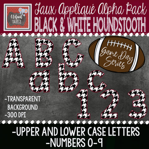 Game Day Series Alpha & Number Pack - Black & White Houndstooth