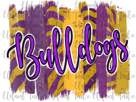 Purple & Gold Bulldogs Paintbrush Strokes