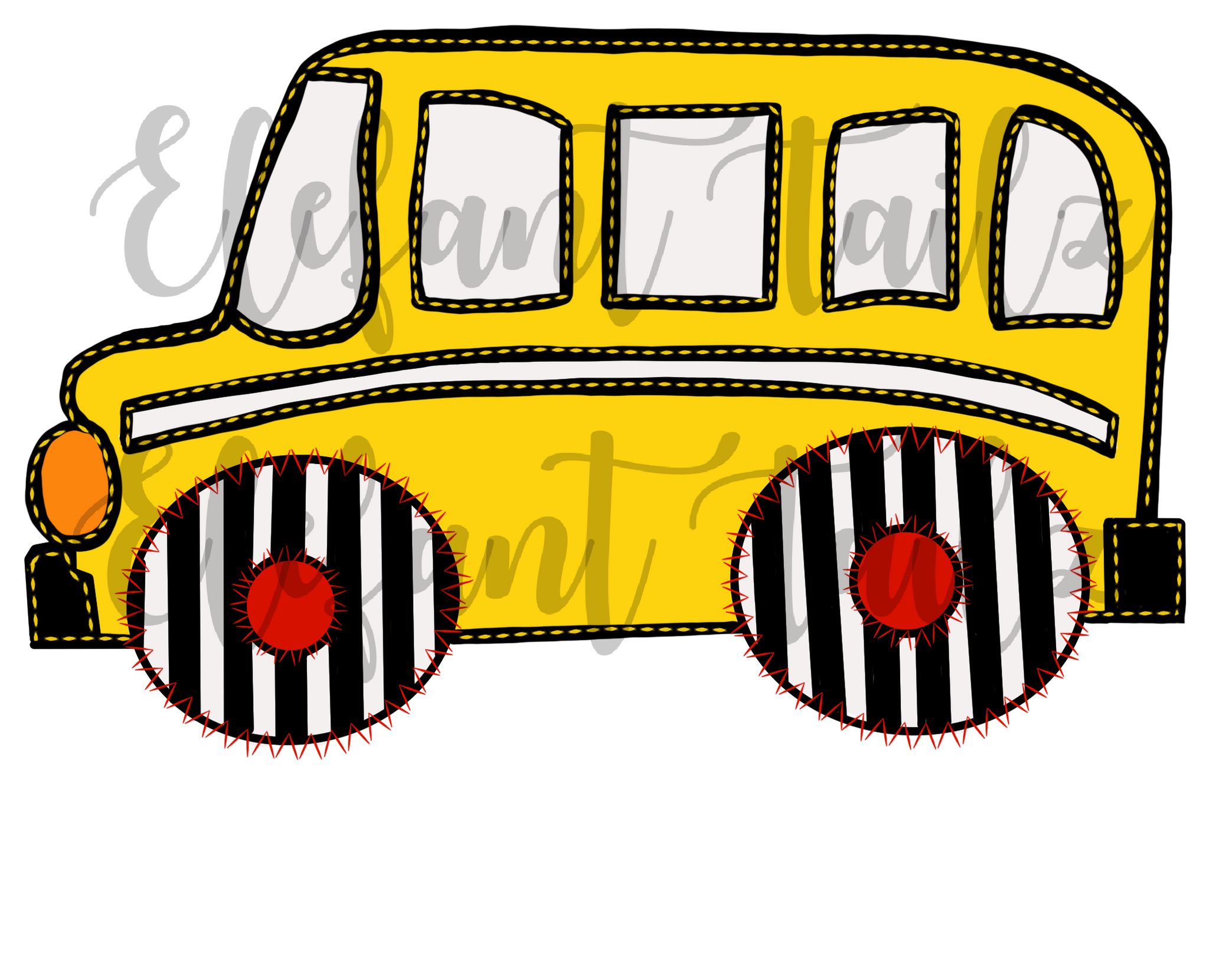 School Bus Faux Applique