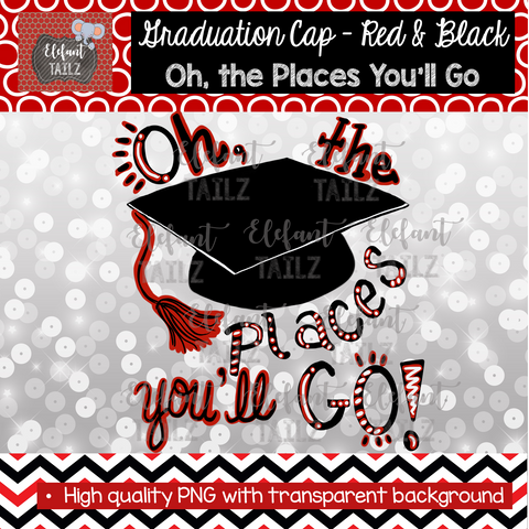 Graduation Cap Oh Places You'll Go - Red & Black