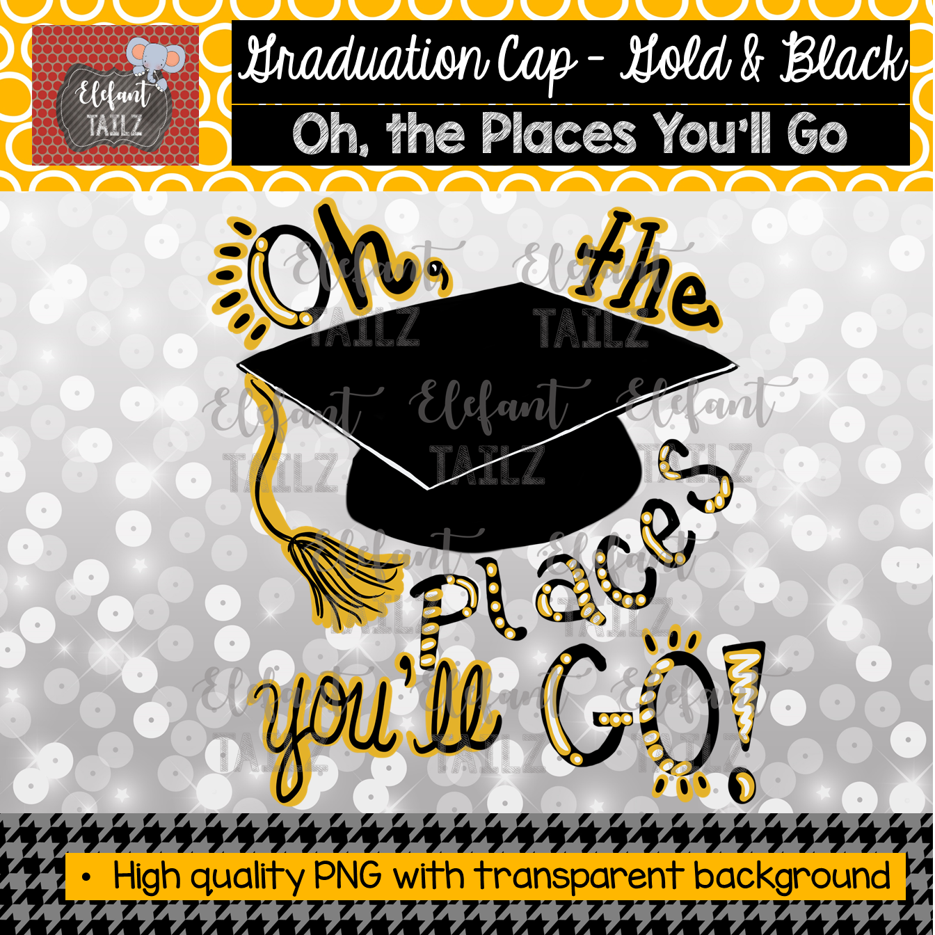 Graduation Cap Oh Places You'll Go - Gold & Black
