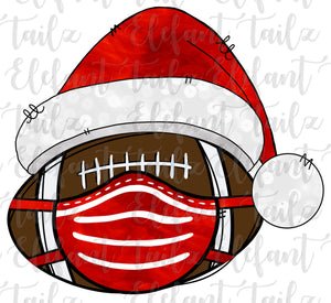 Christmas Santa Hat Football With Face Mask