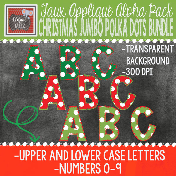 Alpha & Number Pack - Christmas Jumbo Polka Dots BUNDLE