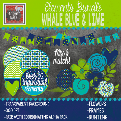 Whale Blue Lime Elements BUNDLE