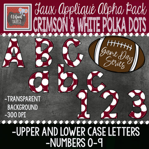 Game Day Series Alpha & Number Pack - Crimson & White Polka Dots