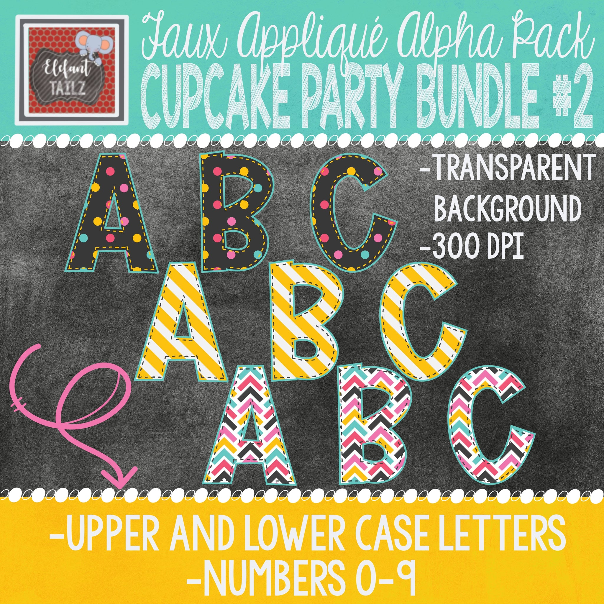 Alpha & Number Pack - Cupcake Party BUNDLE #2