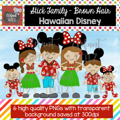 Disney Hawaiian Family - Brown Hair