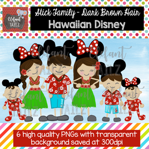 Disney Hawaiian Family - Dark Brown Hair