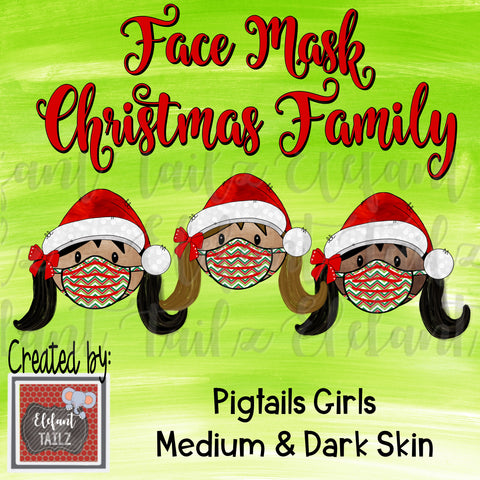 Face Mask Christmas Family - Pigtails Girls - Medium & Dark Skin