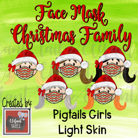 Face Mask Christmas Family - Pigtails Girls - Light Skin