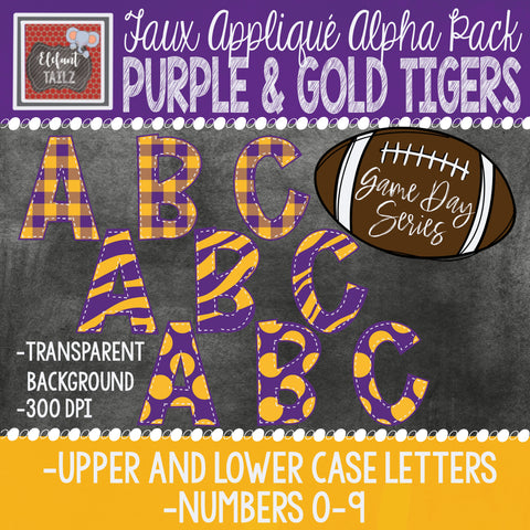 Game Day Series Alpha & Number Pack - Purple & Gold Tigers