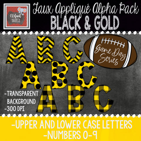 Game Day Series Alpha & Number Pack - Black & Gold Bundle